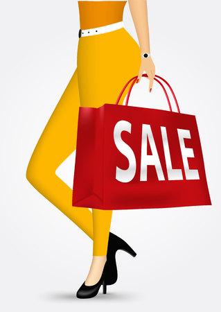 unrecognizable: vector illustration unrecognizable woman in yellow pants holding shopping bag with sale text message isolated over white background