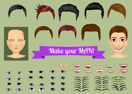 ojos caricatura: establecer para crear personajes únicos - cara, pelo, ojos, labios, cejas Vectores