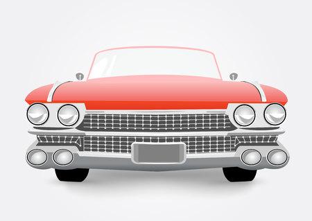 carro antiguo: ilustración vectorial de coche retro rojo aislado sobre fondo blanco