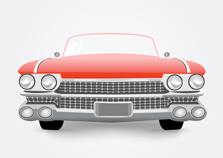 old cars: vector illustration of red retro car isolated on white background