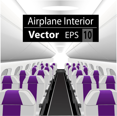modern interior of the passenger airplane with many empty purple seats Иллюстрация