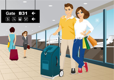 embrace: vector illustration of happy couple standing in an embrace at the airport
