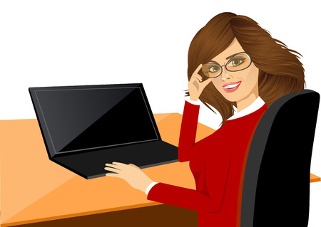 woman using laptop: Portrait of happy young woman using laptop Illustration