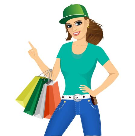 belt up: portrait of young smiling pretty woman with baseball cap holding shopping bags isolated over white background