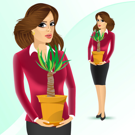 offiice: smiling business woman holding yucca plant in a pot isolated on white background Illustration