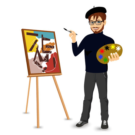 portrait of  happy male painter artist with glasses and mustache smiling and painting with colorful palette standing near easel