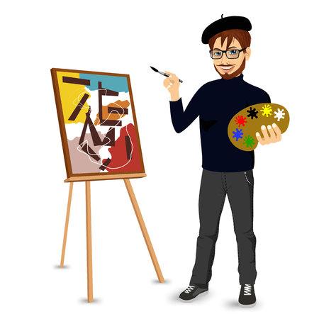 pintor: Retrato de la feliz artista pintor hombre con gafas y bigote sonrientes y la pintura con la paleta de colores de pie cerca de caballete Vectores