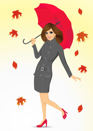 autumn woman: full body portrait of friendly woman in a gray autumn coat holding an umbrella and standing under falling leaves Illustration
