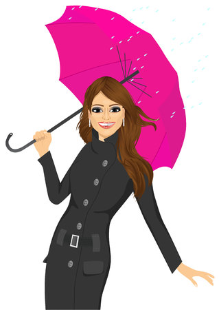 autumn woman: portrait of friendly woman in a black autumn coat holding an umbrella and standing in a puddle Illustration