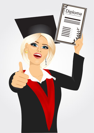 academic gown: portrait of happy college student in an academic gown showing diploma and giving thumbs up isolated over white background Illustration