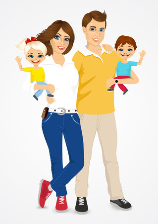 dad son: portrait of happy young father and mother with cute babies over white background Illustration