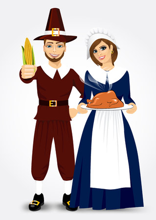 pilgrim costume: vector illustration for thanksgiving of pilgrim couple holding a roast turkey and corn