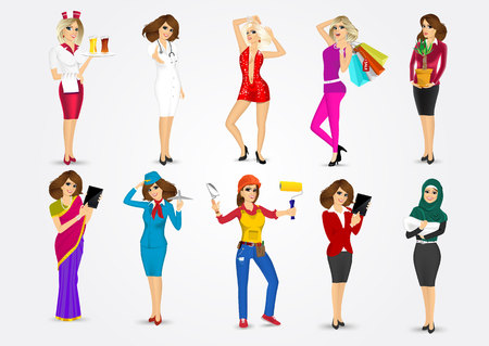 attractive woman: set of 10 professions Illustration