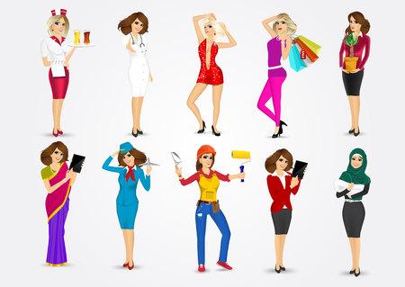 set of 10 professions Illustration
