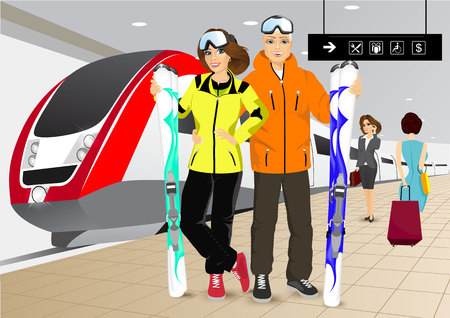 skiers: vector illustration of happy couple skiers standing on the platform at the train station