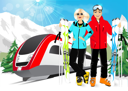 the high speed train: happy couple skiers enjoy their winter vacation in mountain resort wearing ski suits, standing with mountain skis against high speed train and happy smiling Illustration