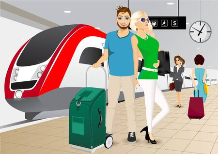 the high speed train: vector illustration of happy couple standing in an embrace on the platform at the train station against a high speed train