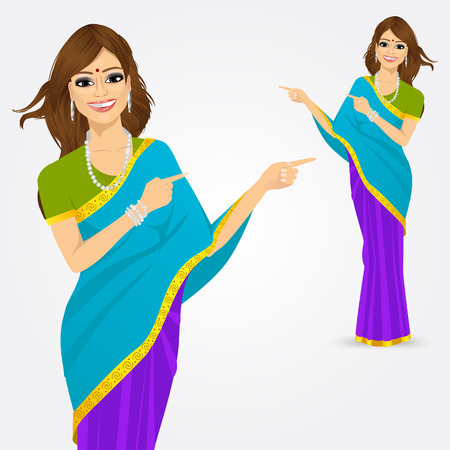 saree: portrait of traditional Indian woman pointing something  isolated over white background