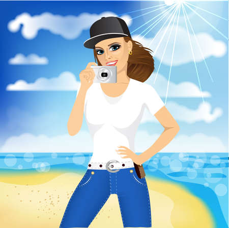 taking picture: portrait of young smiling pretty woman with baseball cap taking a picture on background of ocean or sea Illustration