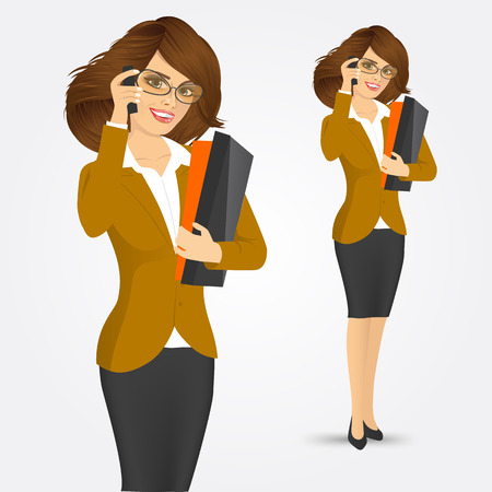 Full body portrait of happy smiling business woman with glasses holding folders and talking on the phone isolated over white background