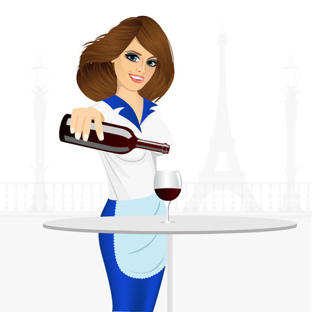 red wine pouring: illustration of young smiling waiter pouring red wine into a glass Illustration