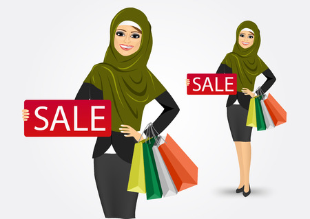 lady shopping: portrait of happy modern arabic woman with shopping bags holding a red sign with sale text message isolated over white background