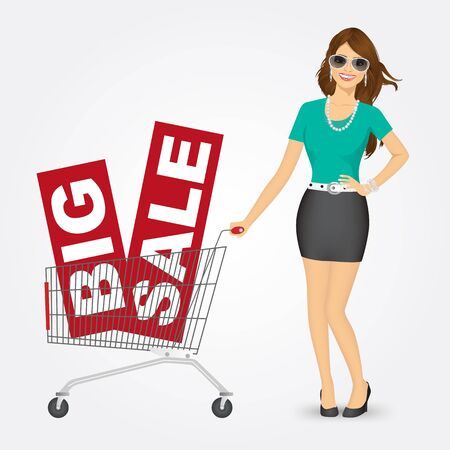 woman shopping cart: illustration of a beautiful young woman with sunglasses pushing a shopping cart with big sale banners Illustration