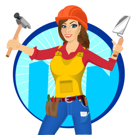 plasterer: portrait of plasterer woman with orange helmet holding paint roller in one hand and trowel in other hand isolated over white background Illustration