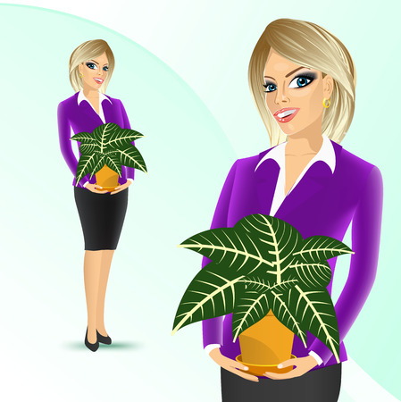 offiice: smiling business woman holding sanchezia in a pot isolated on white background