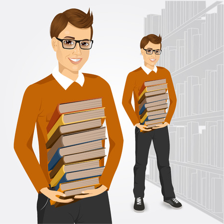 education book: portrait of young student with glasses holding stack of books in library