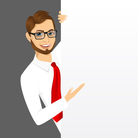 presentation board: portrait of modern hipster businessman with glasses peeking out of a blank presentation board Illustration