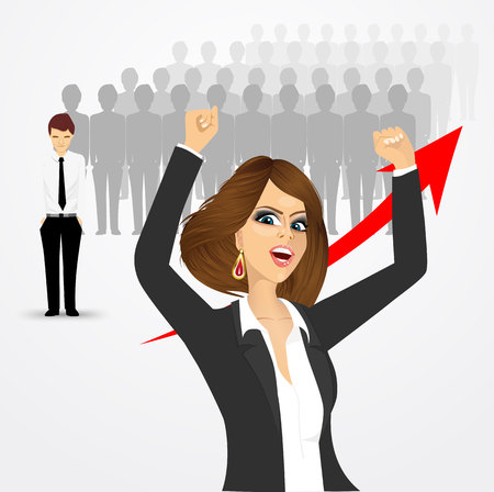 crowd cheering: young beautiful business woman cheering against crowd of losers