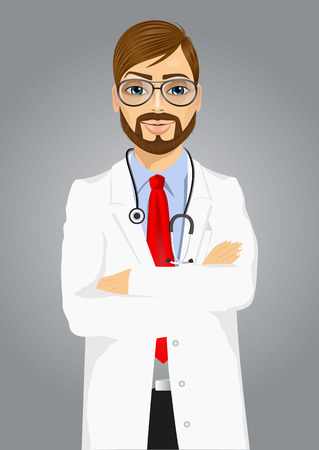 folded arms: portrait of experienced male doctor with arms folded posing over grey background