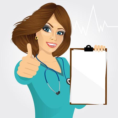 mooie verpleegster of vrouwelijke arts die een blanco medische klembord en geven thumbs up op een witte achtergrond