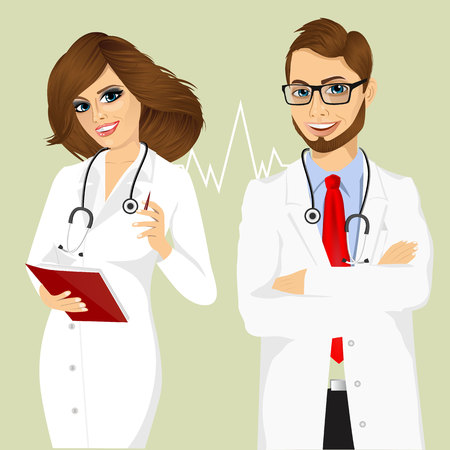 experienced: portrait of experienced male doctor with arms folded and smiling female doctor writing something in planner Illustration