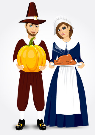 period costume: vector illustration for thanksgiving of pilgrim couple holding a roast turkey and pumpkin