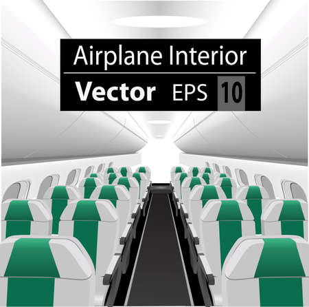 modern interior: modern interior of the passenger airplane with many empty green seats Illustration