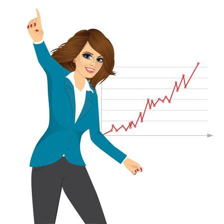 exito: retrato de joven mujer de negocios feliz por su éxito Vectores