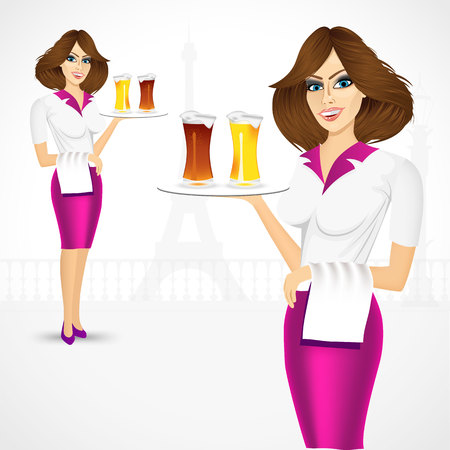 froth: portrait of waitress carrying a tray with two froth beer mugs on tray