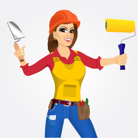 hand trowel: portrait of plasterer woman with orange helmet holding paint roller in one hand and trowel in other hand isolated over white background Illustration