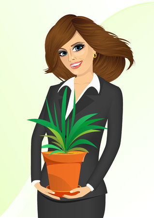 offiice: smiling business woman holding chlorophytum in a pot isolated on white background Illustration