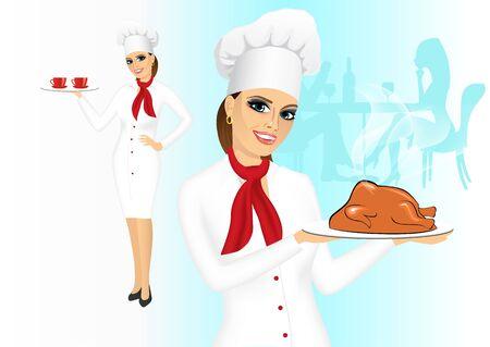 roasted turkey: portrait of smiling female chef with christmas roasted turkey Illustration