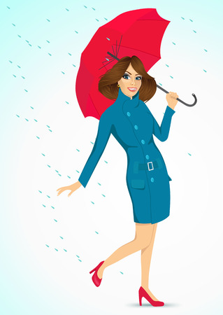 autumn woman: full body portrait of friendly woman in a cyan autumn coat holding an umbrella and standing under the rain Illustration
