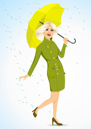 rain coat: full body portrait of friendly blonde woman in a green autumn coat holding an umbrella and standing under the rain Illustration