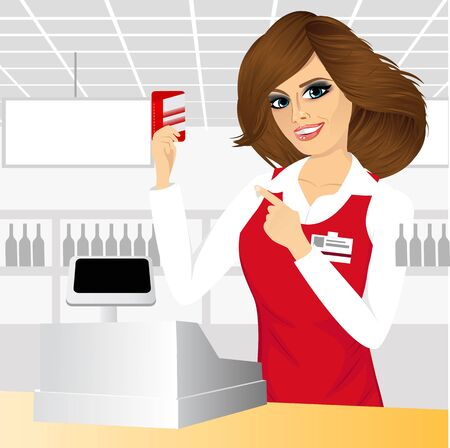 maquina registradora: amable cajera señala en una tarjeta de crédito de pie en el mostrador de caja en el supermercado