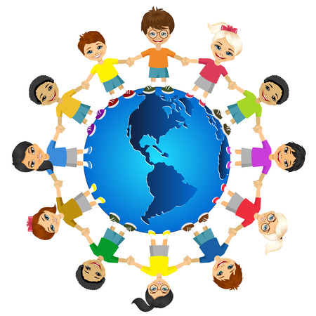 Kids of the world. International friendship day. Earth day. Vector illustration of diverse children holding hands.