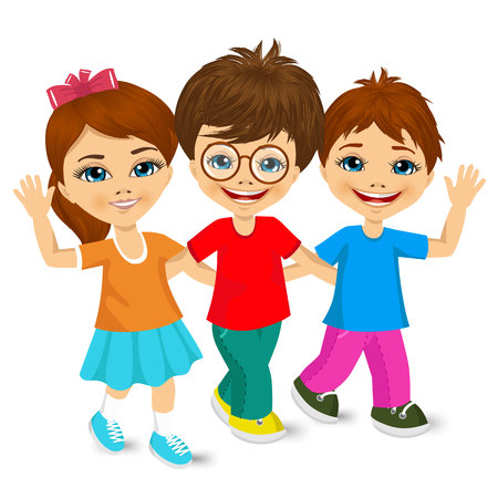 vector illustration of children kids walking to school and greeting