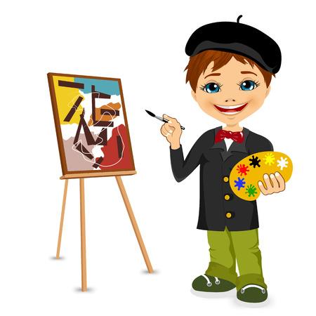artistas: ilustraci�n vectorial de la artista de dibujos animados ni�o de pie cerca del caballete que sostiene la paleta en la mano Vectores