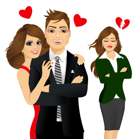 vector illustration of handsome man and beautiful brunette laughing happy and sad brunette girl jealousy about her friend