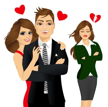 celos: ilustración vectorial de un hombre guapo y hermosa morena riendo chica morena celos feliz y triste por su amigo